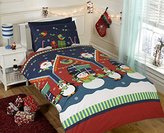 Rapport Father Christmas Kids Xmas Snowman Penguin Santa Quilt Duvet Cover and 2 Pillowcase Bedding Bed Set, Multi-Colour, Double