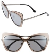 Balenciaga Women's Paris 57Mm Layered Butterfly Sunglasses - Gunmetal/ Black/ Silver/ Brown