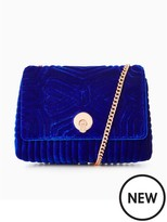 Ted Baker Velvet Quilted Bow Chain Strap Crossbody - Bright Blue
