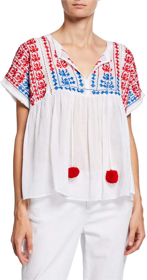 Neiman Marcus Embroidered Dolman-Sleeve Peasant Pompom Top