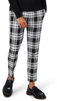 Topman Men's Plaid Ultra Skinny Fit Crop Trousers