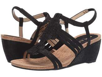 Anne Klein Sport Tilly Wedge Sandal (Black Fabric) Women's Shoes