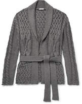 Eidos Shawl Collar Cable-Knit Cotton And Cashmere-Blend Cardigan