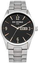 Ben Sherman Men's Quartz Watch with Black Dial Analogue Display and Silver Stainless Steel Bracelet WB053BSM
