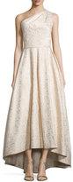 Monique Lhuillier One-Shoulder Metallic Ball Gown