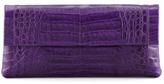 Nancy Gonzalez Crocodile Flap Clutch Bag, Purple