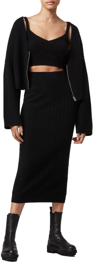 Thumbnail for your product : AllSaints Enya Zip Ribbed Crop Wool Blend Cardigan