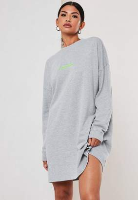 Missguided Gray Oversized Neon Embroidered Sweater Dress