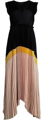 BCBGMAXAZRIA Pleated Satin Dress