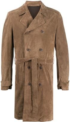 Salvatore Santoro Suede Double-Breasted Trench Coat
