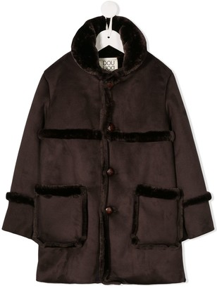 Douuod Kids Faux-Fur Single-Breasted Coat