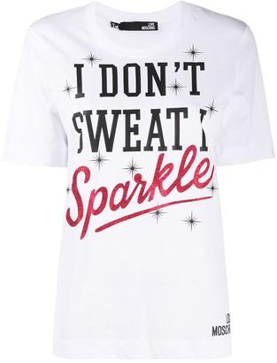 Love Moschino slogan-print cotton T-shirt