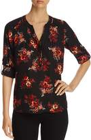 Daniel Rainn Floral-Print Roll-Sleeve Top