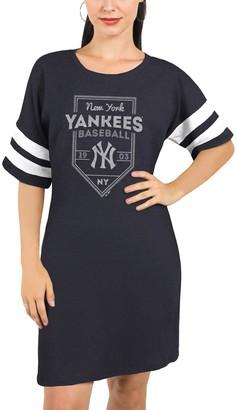 Majestic New York Yankees Threads Women's Tri-Blend Short Sleeve T-Shirt Dress - Navy