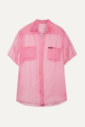 Miu Miu Oversized Silk-organza Shirt - Baby pink