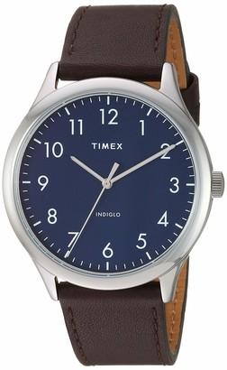 Timex Men's TW2T71800 Modern Easy Reader 40mm Black/Silver/White Genuine Leather Strap Watch