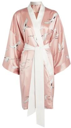 Olivia von Halle Silk Mimi Pearl Short Robe