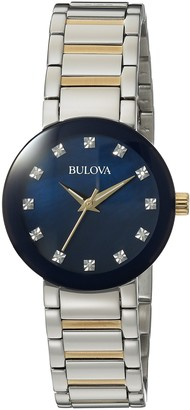Bulova Women's Analog-Quartz Watch with Stainless-Steel Strap Multi 14 (Model: 98P157)
