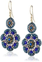 Miguel Ases Blue Quartz and Swarovski Flower Station Drop Earrings