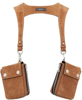 Amiri Double-pouch Suede Harness - Mens - Brown