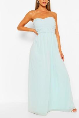boohoo Chiffon Bandeau Maxi Bridesmaid Dress