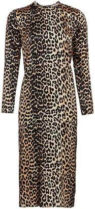 Ganni Stretch Silk Leopard Midi Dress