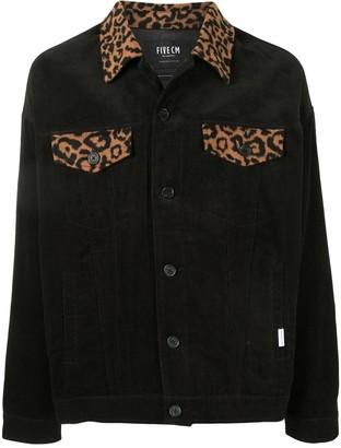 Five Cm Leopard Print Panelled Corduroy Shirt Jacket