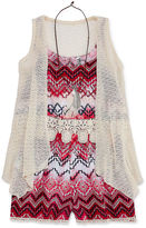 Knitworks Knit Works Romper with Crochet Duster and Necklace - Girls' 7-16