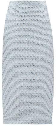 Alessandra Rich Sequinned Tweed Pencil Skirt - Womens - Light Blue