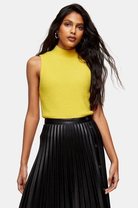 Topshop Womens Yellow Fluffy Funnel Neck Knitted Tank - Yellow
