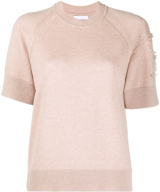 Barrie Short-Sleeved Cashmere Top