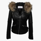 Adene Black Leather Fur Trim Biker Jacket
