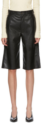 Nanushka Black Vegan Leather Nampeyo Shorts