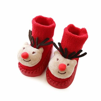 Jourad Christmas Baby Socks 0-24 Month 11-13cm Toddler Kids Infant Boy Girls Red Santa Deer Anti-Slip Boots Socks Baby Step Socks Xmas Gift