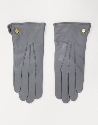 Barneys New York real leather gloves in light grey