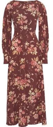 Zimmermann Unbridled Basque Floral-print Stretch-silk Maxi Dress