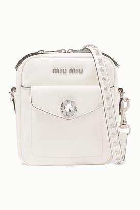 Miu Miu Solitaire Crystal-embellished Leather Camera Bag - White