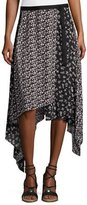Rag & Bone Liv Floral Handkerchief-Hem Midi Skirt, Black
