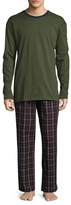Brooks Brothers Solid Top & Tartan Pants Cotton Set