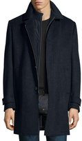 Corneliani Check Wool Car Coat, Blue