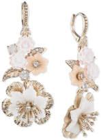 Marchesa Gold-Tone Crystal Flower Drop Earrings