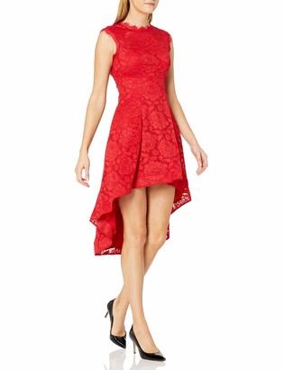 Betsy & Adam Women's Cap Sleeve Lace Dress with Open Back