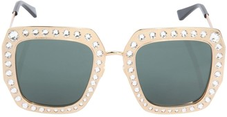 Gucci Square Crystals & Metal Frame Sunglasses