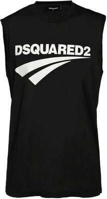 DSQUARED2 Printed Sleeveless Cotton Jersey T-Shirt