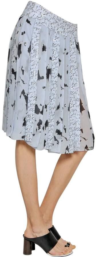 Proenza Schouler Printed Pleated Silk Chiffon Skirt