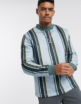 Asos Design DESIGN sweatshirt in blue with vertical stripes-Multi