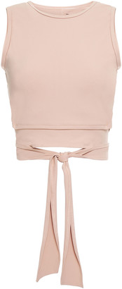 Live The Process Ballet Cropped Knotted Stretch-supplex Top