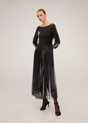 MANGO Metallic pleated dress black - 4 - Women