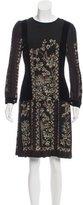 Gucci Velvet-Trimmed Silk Dress