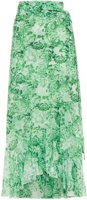 Ganni Ruffled Floral-print Stretch-mesh Midi Wrap Skirt